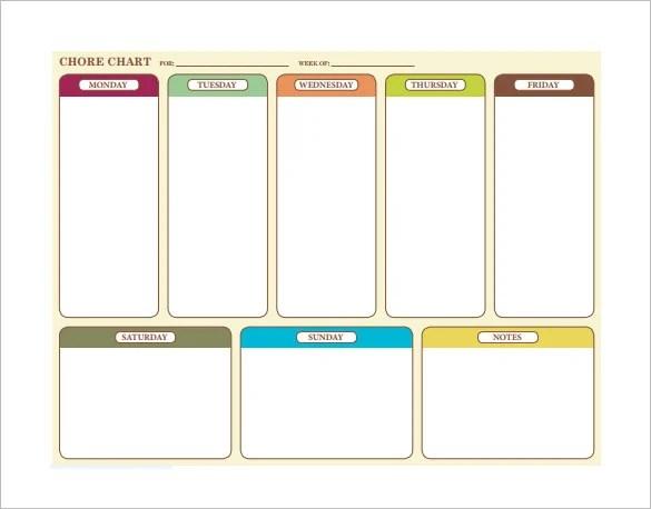 10+ Family Chore Chart Templates - PDF, DOC, Excel Free  Premium