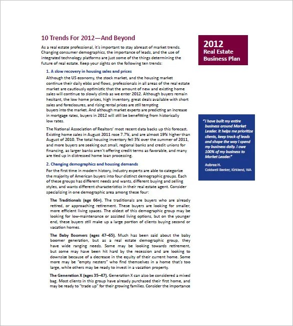 16+ Real Estate Marketing Plan - Free Sample, Example, Format - real estate business plan