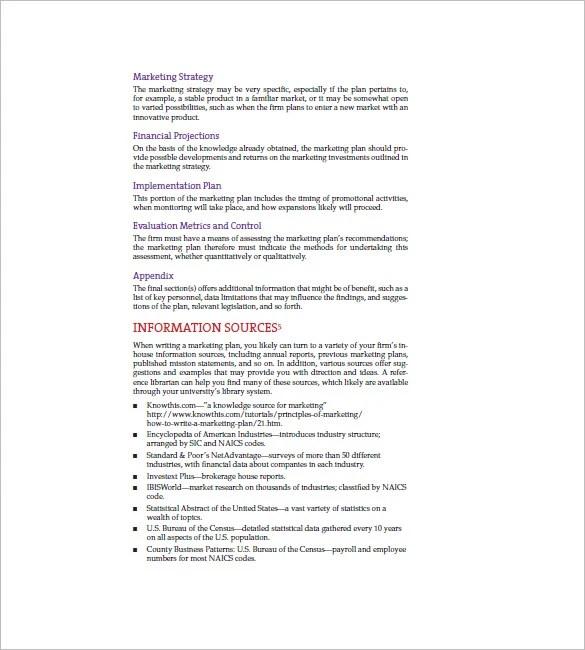 Simple Marketing Plan Template \u2013 12+ Free Sample, Example, Format - writing business marketing plan