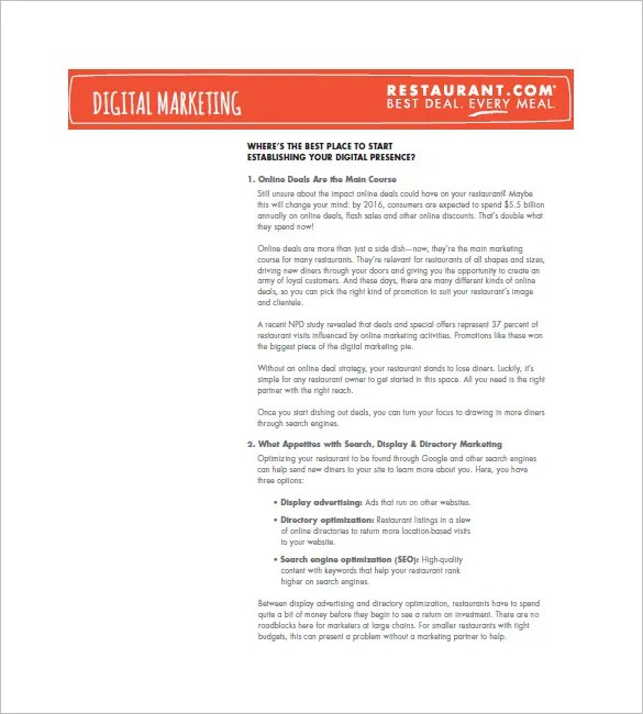 Restaurant Marketing Plan Template u2013 12+ Free Sample, Example - seo plan template