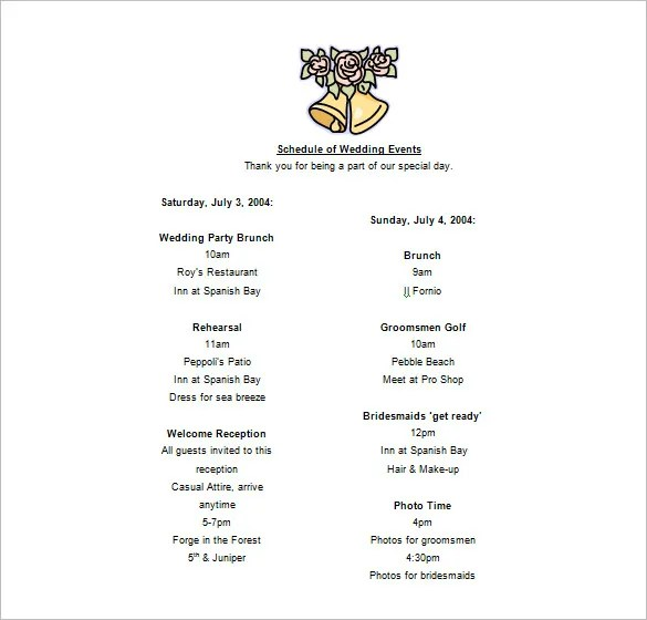 Event Schedule Templates \u2013 14+ Free Word, Excel, PDF Format Download - event schedule template