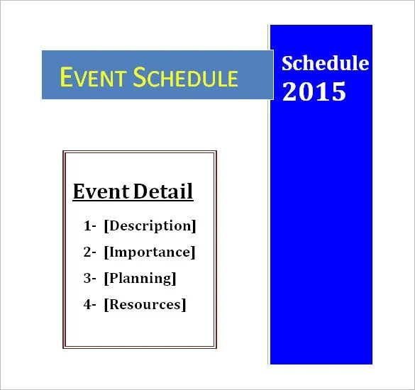 Event Schedule Templates \u2013 14+ Free Word, Excel, PDF Format Download