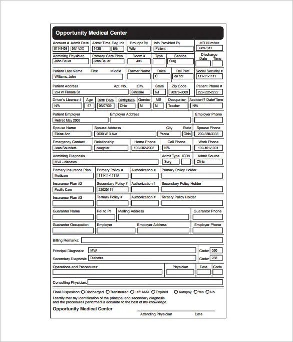 7+ Medical Chart Template - Free Word, Excel, PDF Format Download