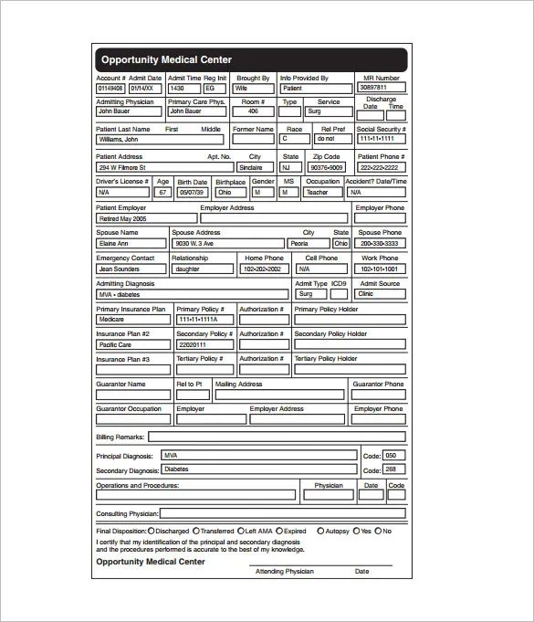 medical chart template