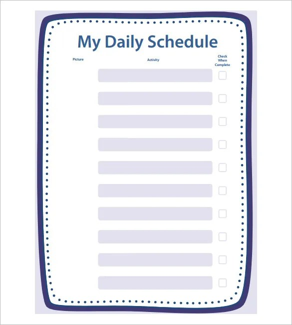School Schedule Template - 13+ Free Word, Excel, PDF Format - daily timetable