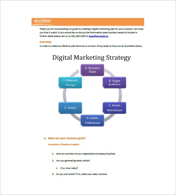 Digital Marketing Plan Template - 11+ Free Sample, Example, Format - digital marketing plan template