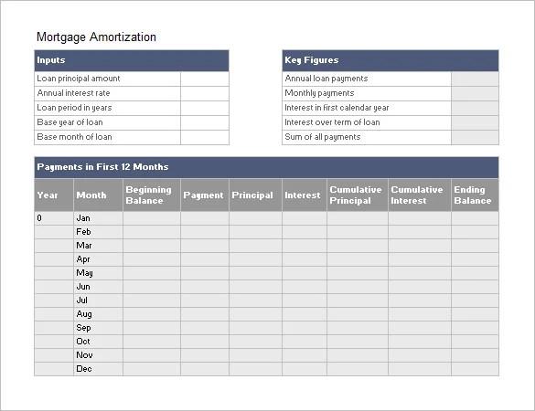 Amortization Schedule Templates \u2013 10+ Free Word, Excel, PDF Format