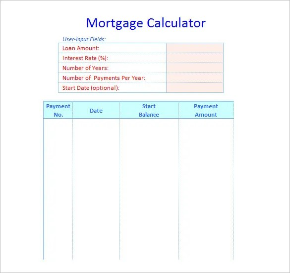 amortization schedule template - Funfpandroid - Mortgage Amortization Template