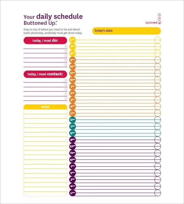Hourly Schedule Template - 35+ Free Word, Excel, PDF Format Free