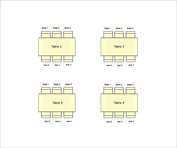 Table Seating Chart Template \u2013 14+ Free Sample, Example, Format