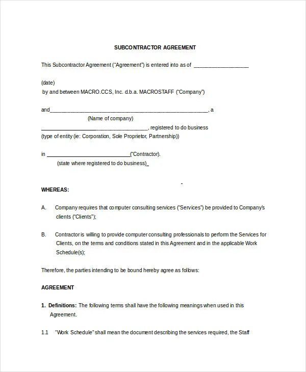 Subcontractor Non Compete Agreement Sample | Create A Resume Student