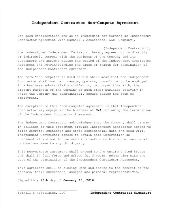 Non Compete Agreement - 11+ Free Word, PDF Documents Download - business non compete agreement