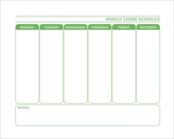 chores checklist template