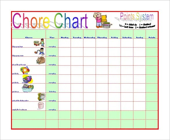 Chore Chart Template \u2013 12+ Free Sample, Example, Format Download