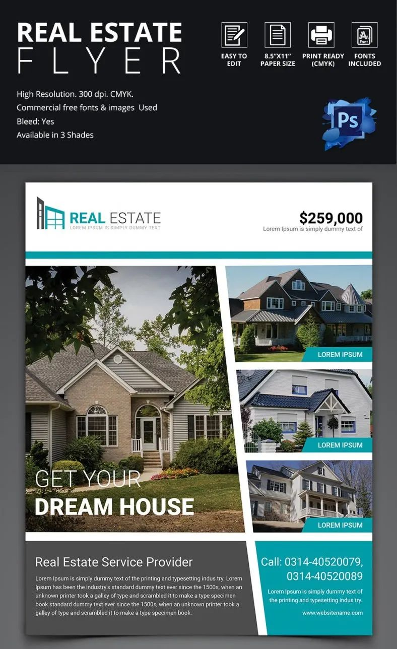 Simple real estate flyer template in 3 different colors