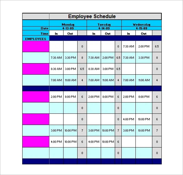 Staff Schedule Template \u2013 8+ Free Word, Excel, PDF Format Download
