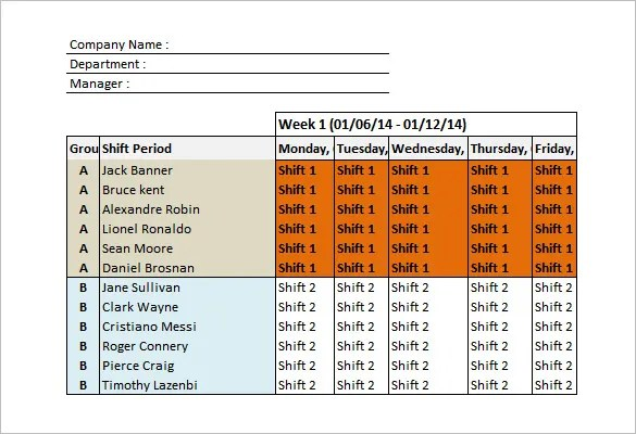 excel template shift schedule - work shift calendar template