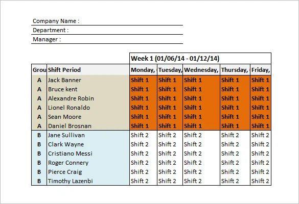 excel work shift schedule template