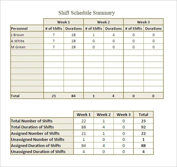 Shift Schedule Templates \u2013 12+ Free Word, Excel, PDF Format Download - work shift calendar template