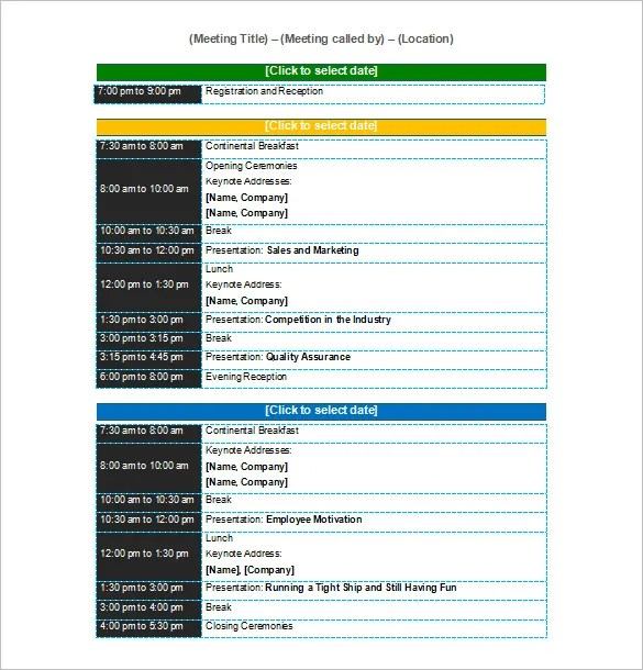 Conference Schedule Template - 10+ Free Word, Excel, PDF Format - conference schedule template