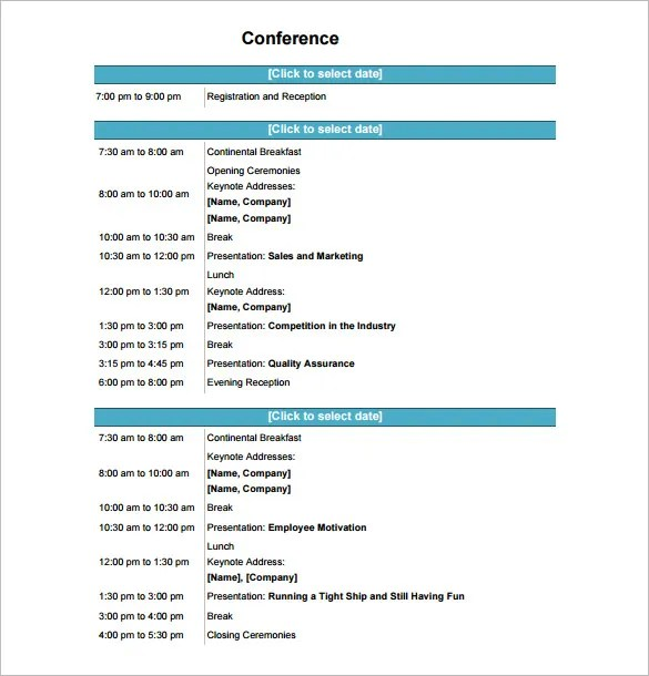 Conference Schedule Template - 11+ Free Word, Excel, PDF Format