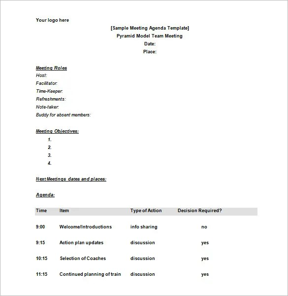 Meeting Schedule Templates - 18+ Free Word, Excel, PDF Format - meeting schedule template