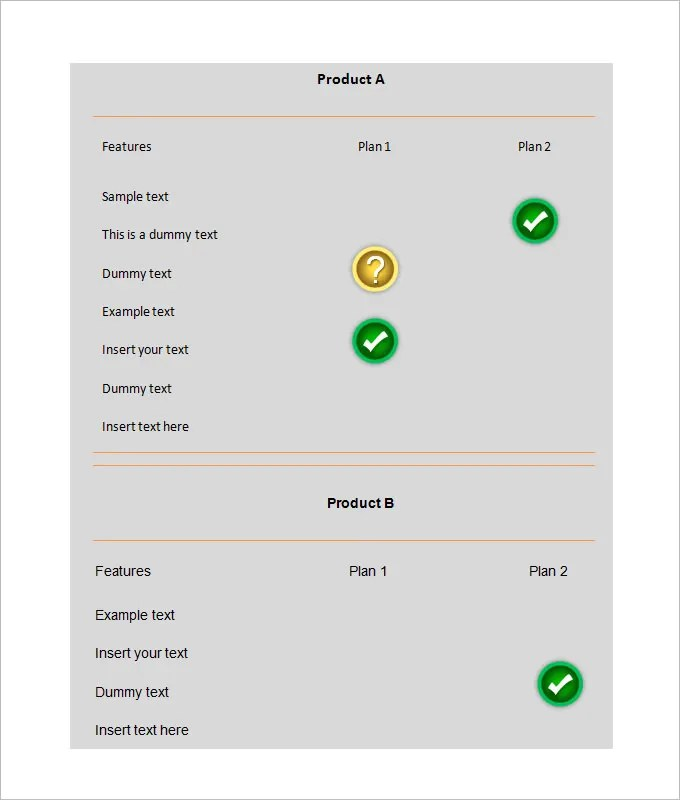 Comparison Chart Template \u2013 13+ Free Sample, Example, Format
