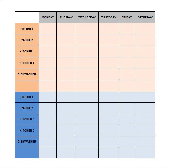 Restaurant Schedule Template - 11+ Free Excel, Word Documents - free roster templates