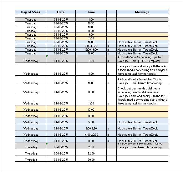 Social Media Schedule Template \u2013 7+ Free Word, Excel, PDF Format