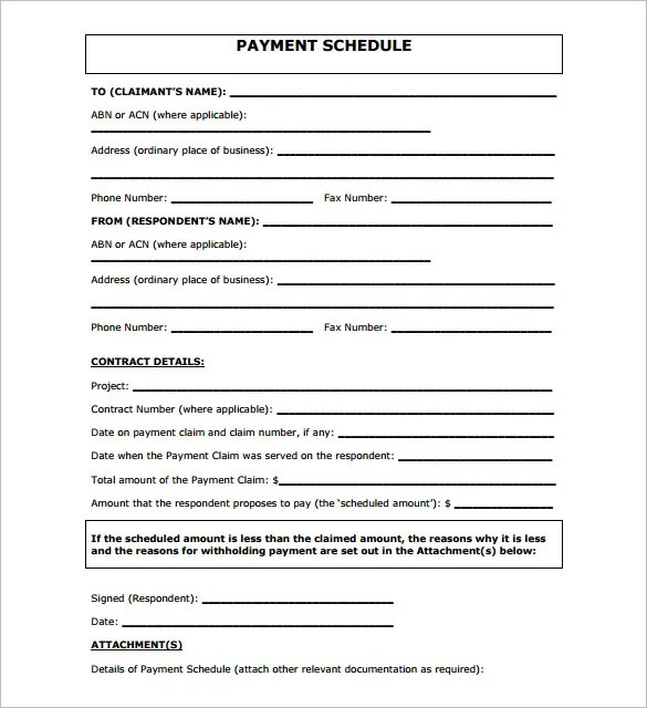 Monthly Payment Contract Template. Contract Payment Sheet Payment