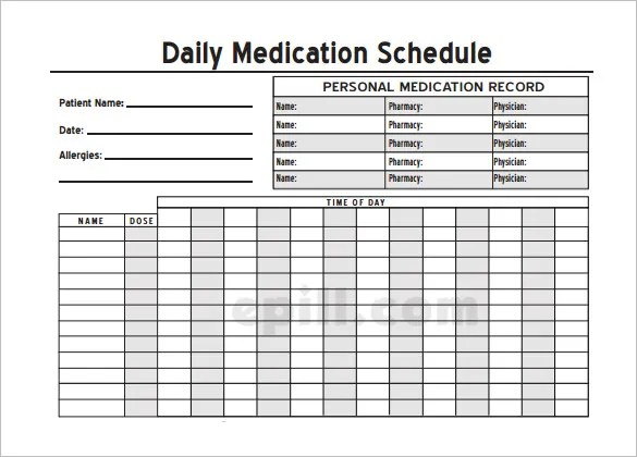Medication Schedule Template - 14+ Free Word, Excel, PDF, Format