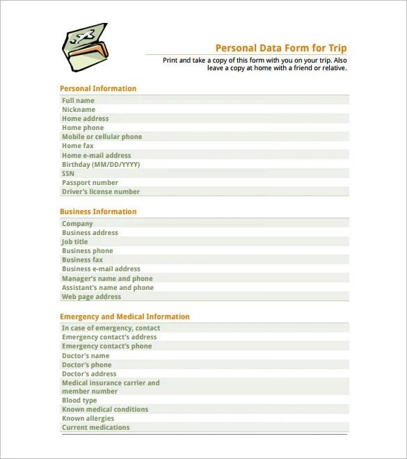 employee personal data form template - Vatozatozdevelopment