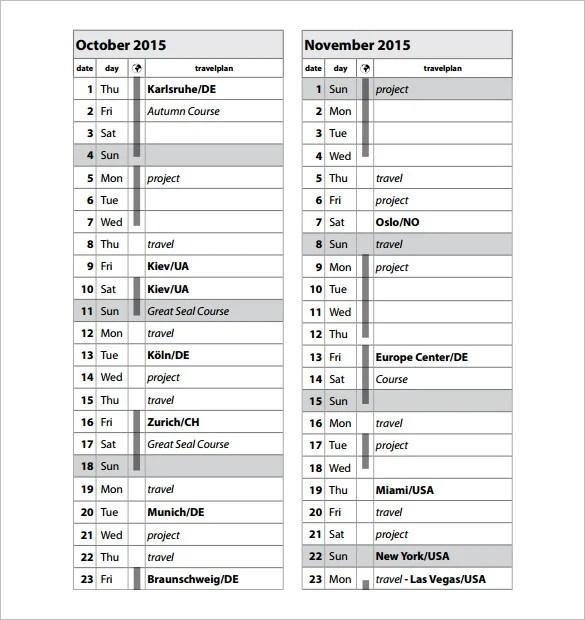16+ Travel Schedule Templates - Free Word, Excel, PDF Format - schedule spreadsheet excel