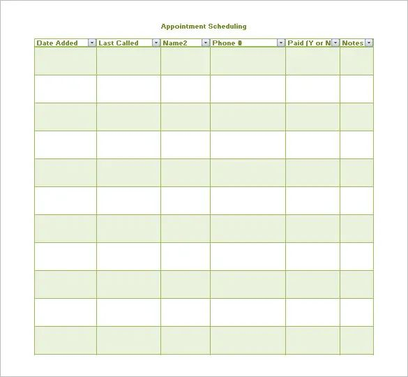appointment scheduling templates