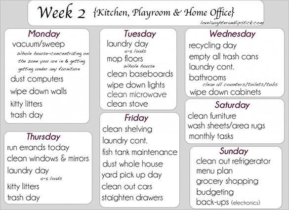 Kitchen Schedule Templates \u2013 16+ Free Word, Excel, PDF Format