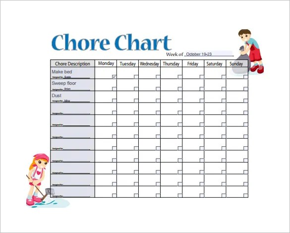 11+ Sample Weekly Chore Chart Template - Free Sample, Example