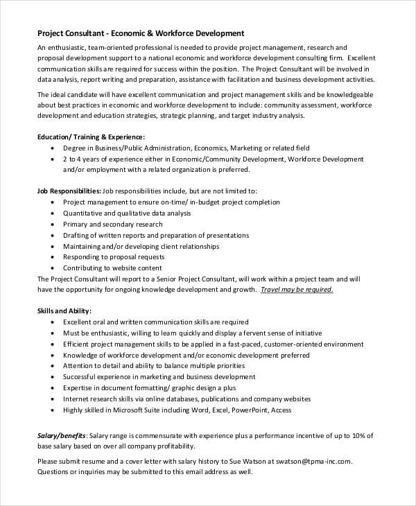 Consultant Job Description Example - 11+ Free PDF Documents - marketing consultant job description