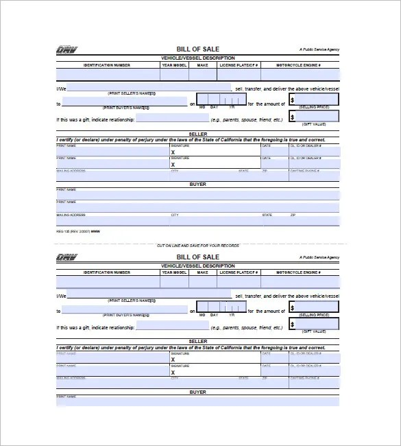 Vehicle Bill of Sale \u2013 10+ Free Word, Excel, PDF Format Download - bill of sale dmv