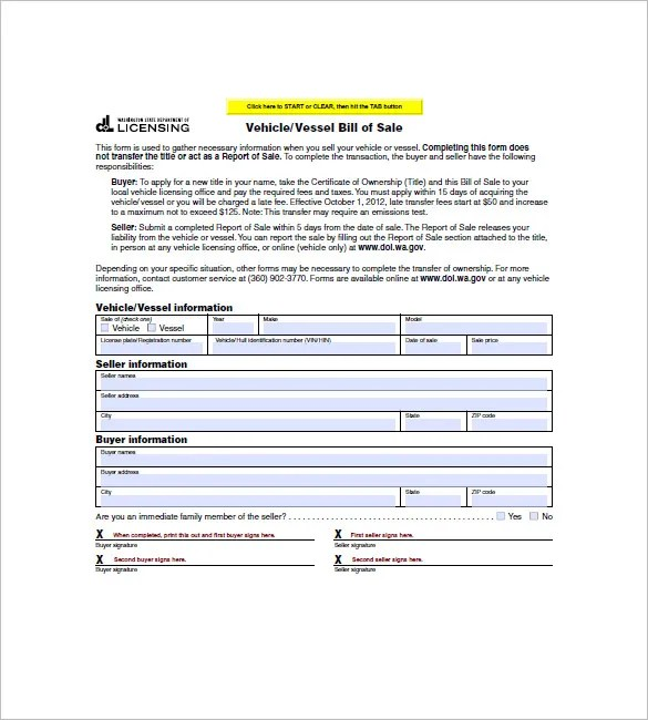 Vehicle Bill of Sale u2013 10+ Free Word, Excel, PDF Format Download - bill of sale word doc