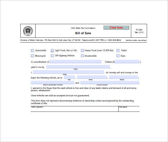 Vehicle Bill of Sale \u2013 10+ Free Word, Excel, PDF Format Download