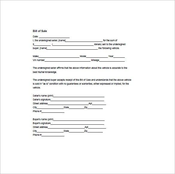 simple bill of sale example - Onwebioinnovate