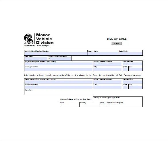 example vehicle bill of sale