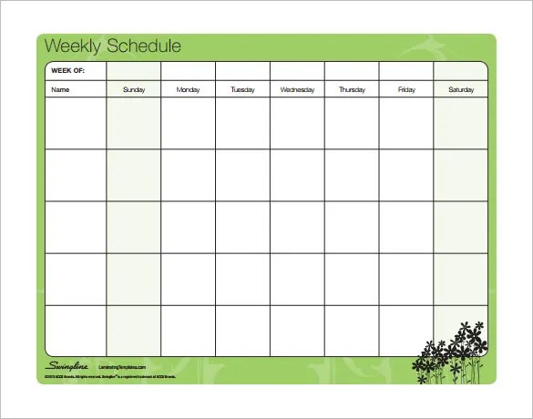weekly schedule templates free - Ozilalmanoof