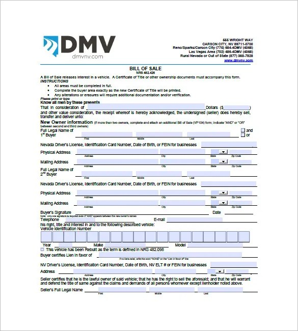 Car Bill of Sale \u2013 10+ Free Sample, Example, Format Download! Free