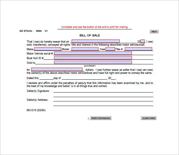 Boat Bill of Sale \u2013 8+ Free Word, Excel, PDF Format Download Free - free printable bill of sale for boat