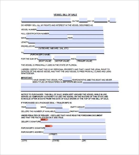 Boat Bill of Sale \u2013 8+ Free Word, Excel, PDF Format Download Free