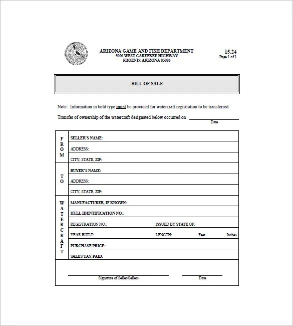 8+ Boat Bill of Sale - Free Sample, Example, Format Download - sample boat bill of sale