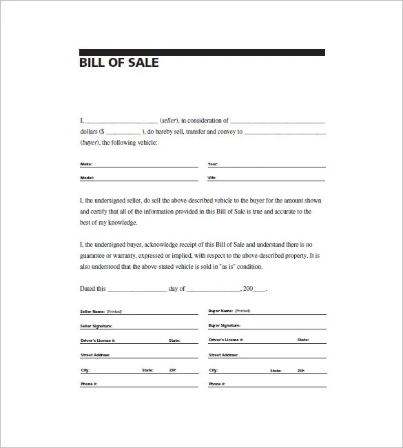 Automobile Bill of Sale \u2013 8+ Free Sample, Example, Format Download
