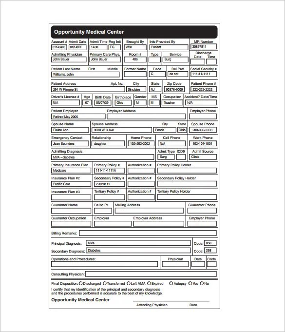 Medical Chart Template \u2013 10+ Free Sample, Example, Format Download - Patient File Template