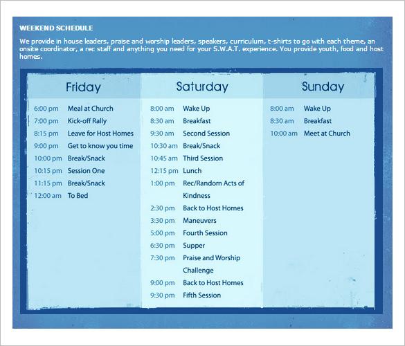 weekend schedule template - Onwebioinnovate